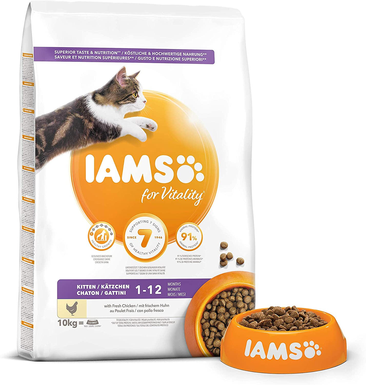 Iams For Vitality Dry Kitten Food With Fresh Chicken 10 Kg Amazon Co Uk Pet Supplies