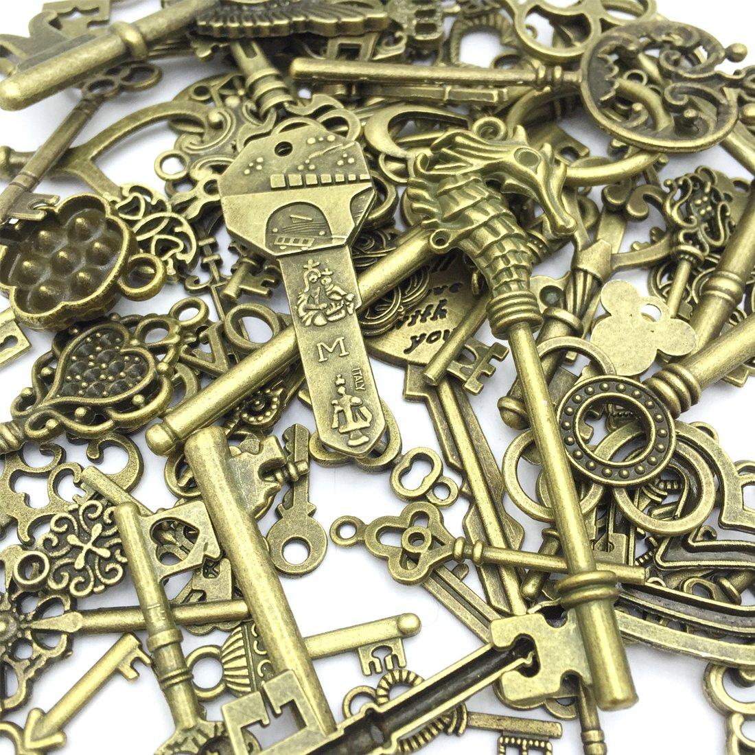 10.5oz//300g Wholesale Bulk Lots Mixed Set of 100 Antique Bronze Brass Skeleton Castle Dungeon Pirate Keys JIALEEY Vintage Skeleton Keys