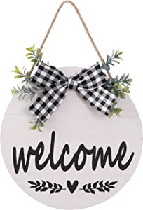 Welcome Sign Rustic Front Door Decor Round Wood Sign Hanging Welcome Farmhouse Porch Decoration Spring Summer Hello Door Sign Home Outdoor Wall Decor (White)