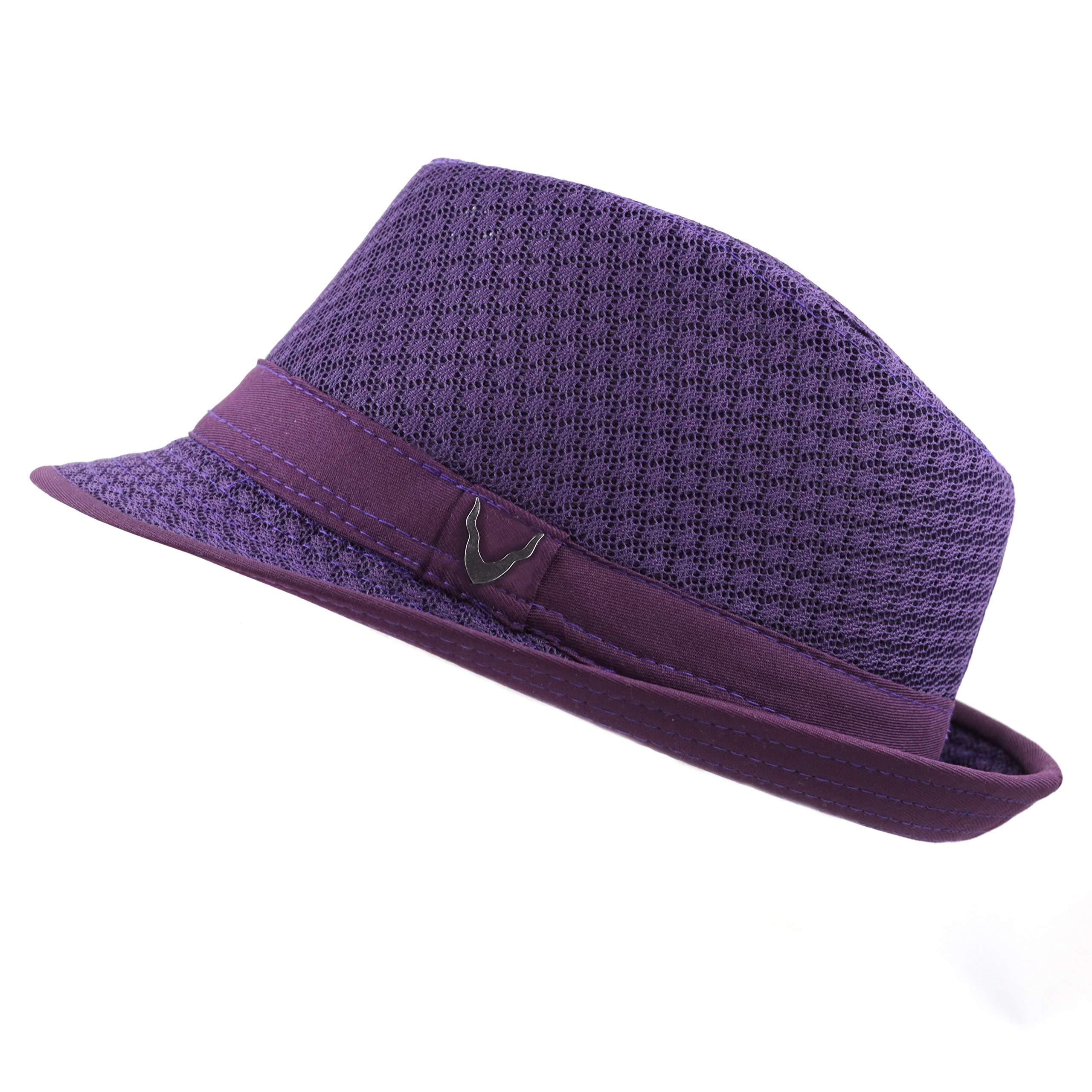 Black Horn 200G1015 Classic Cool Soft Mesh Fedora hat (S/M, Purple)