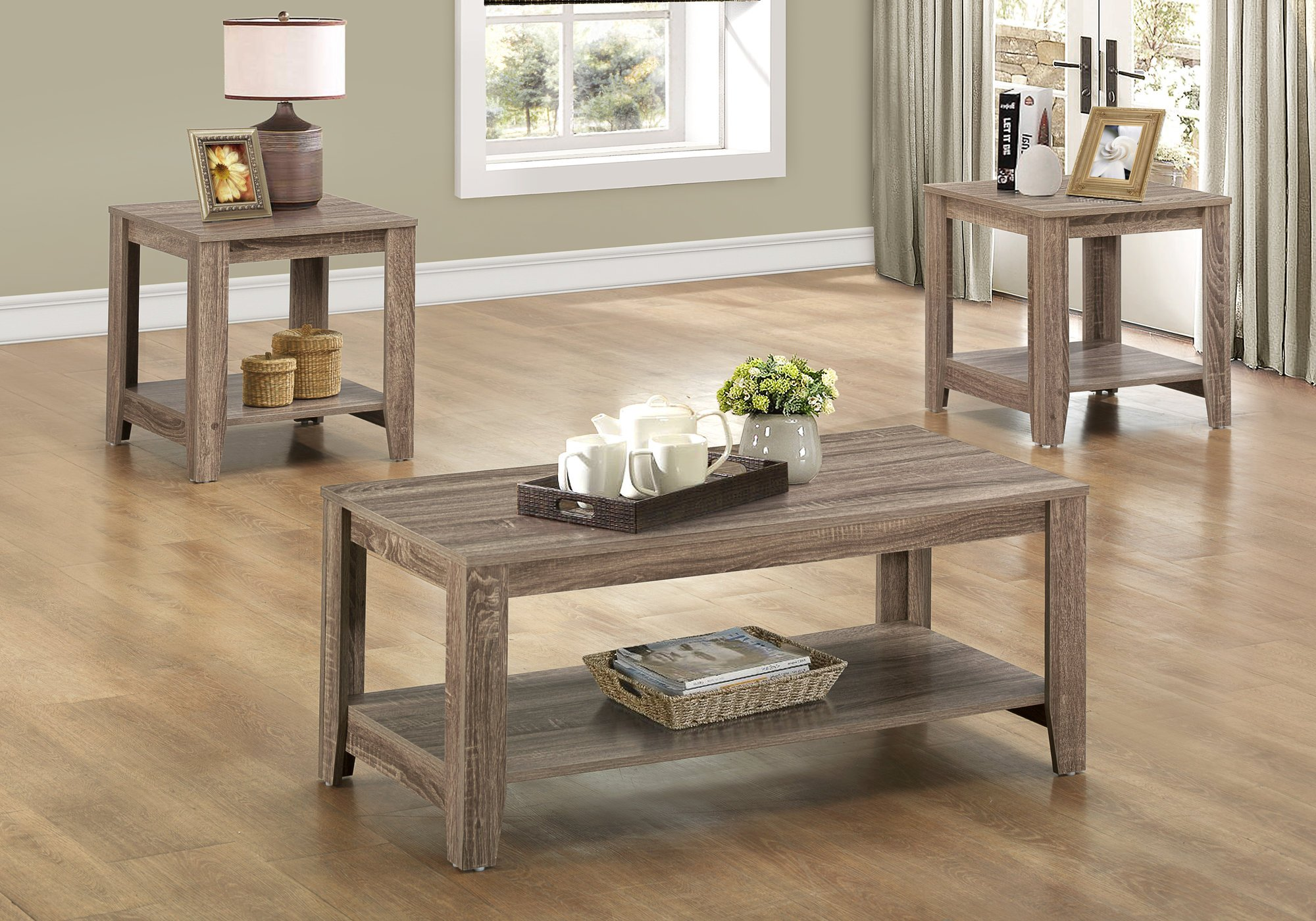 Monarch Specialties 3-Pc Table Set in Taupe