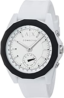 Armani Exchange Mens Hybrid Smartwatch, White Silicone, 44 mm, AXT1000