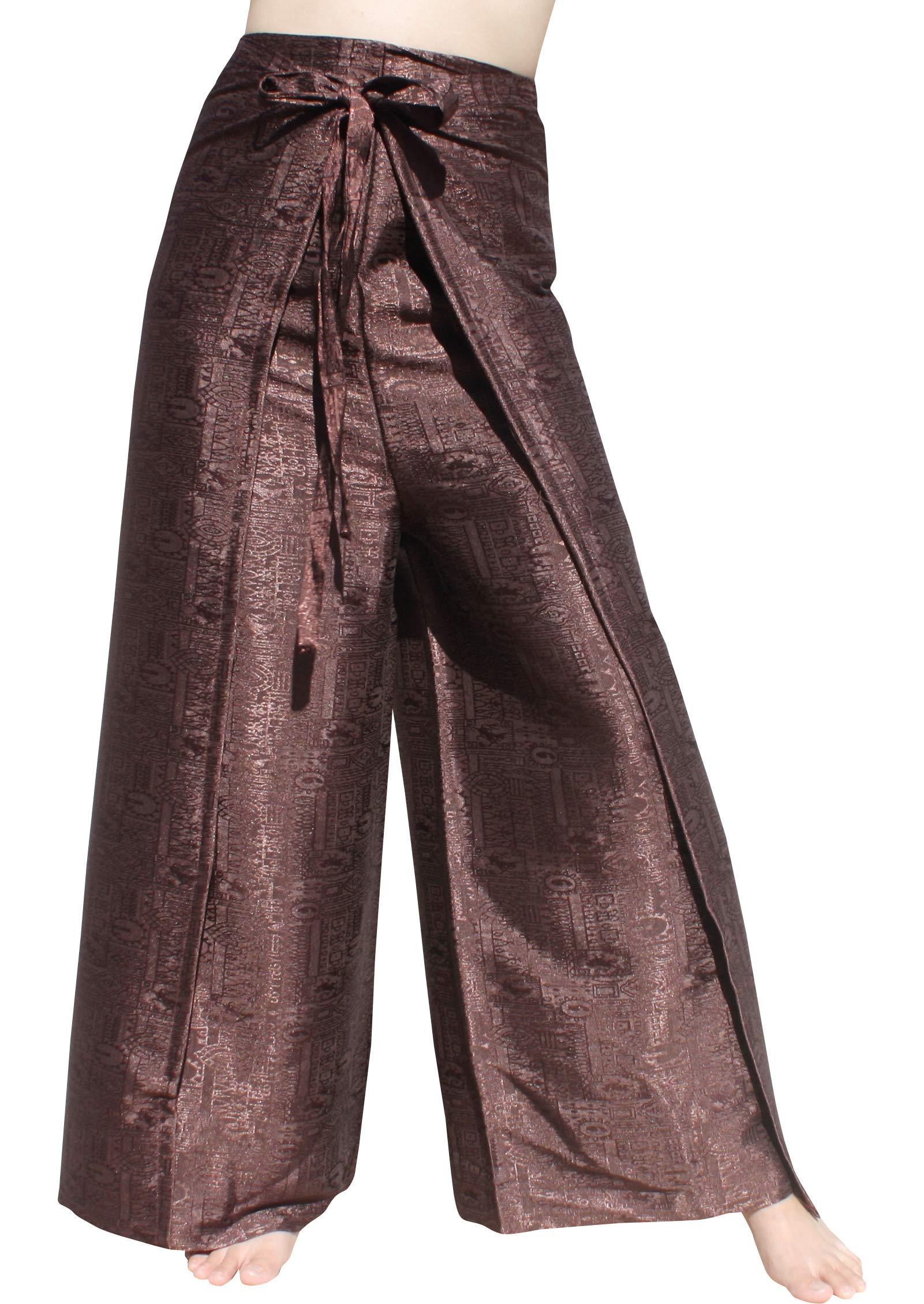 RaanPahMuang Brand Geometric Thick Textured Silk Drive in Wrap Pants, XX-Large, Black Brown by RaanPahMuang