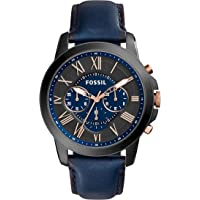Fossil Men's Grant Quartz Stainless Steel and Leather Chronograph Watch (Black/Navy)