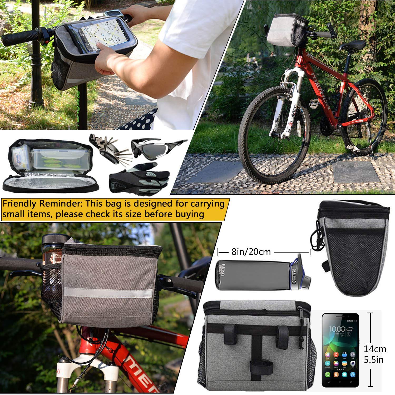 Mattisam Bike Handlebar Bag Bike Basket With Mesh Pocket Cold Warm Insulation Reflective Strap