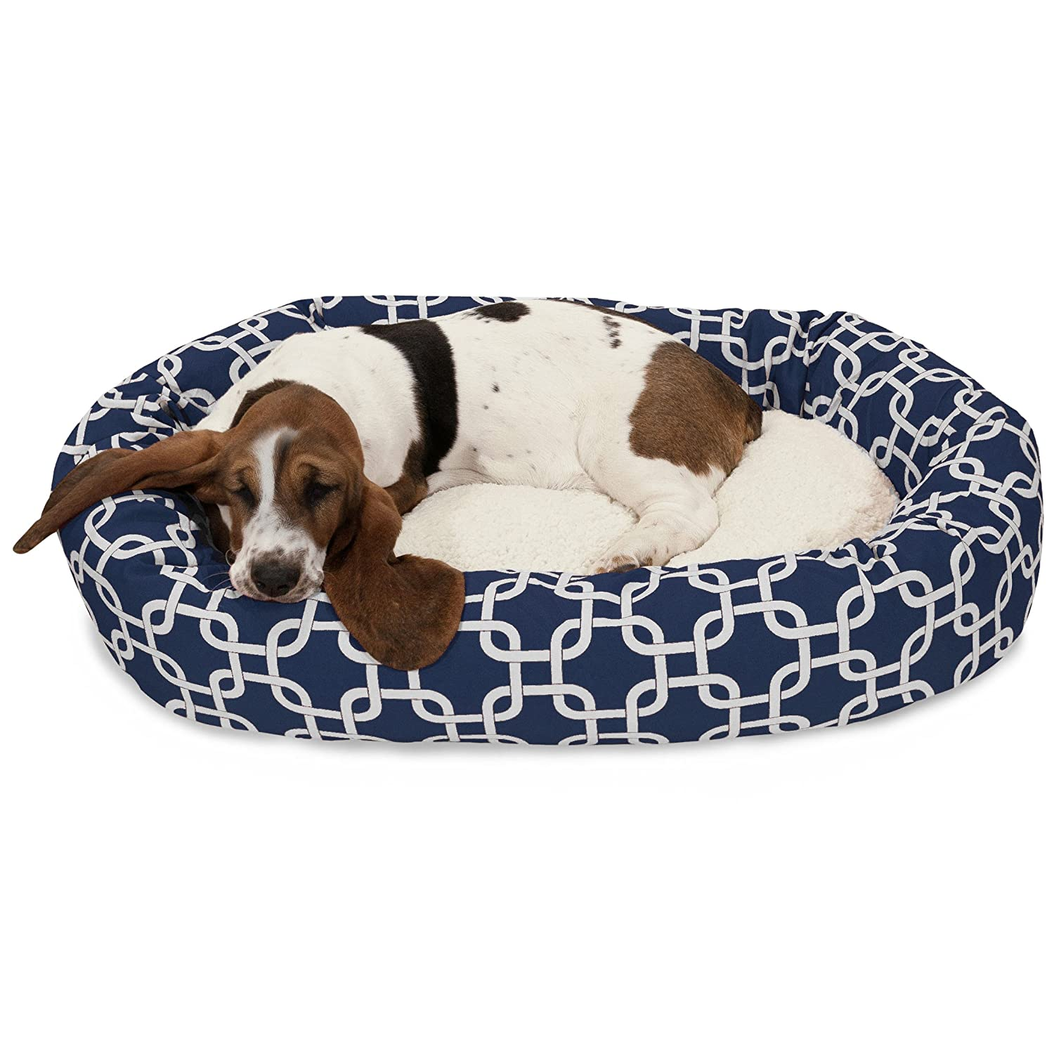 Navy 32Inch24 Inch Yellow Links Sherpa Bagel Dog Bed