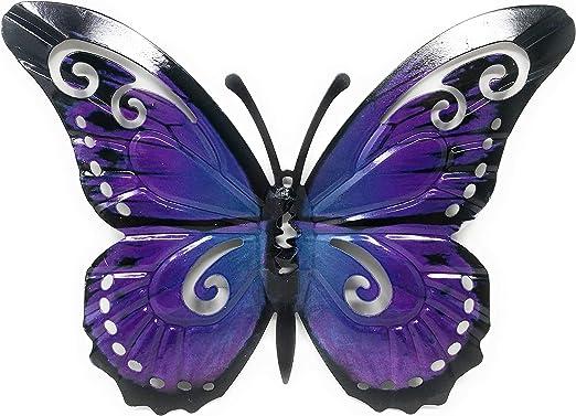 Arte de la pared decoración de pared de Metal escultura - 24cm - mariposa para el jardín o en la casa: Amazon.es: Jardín