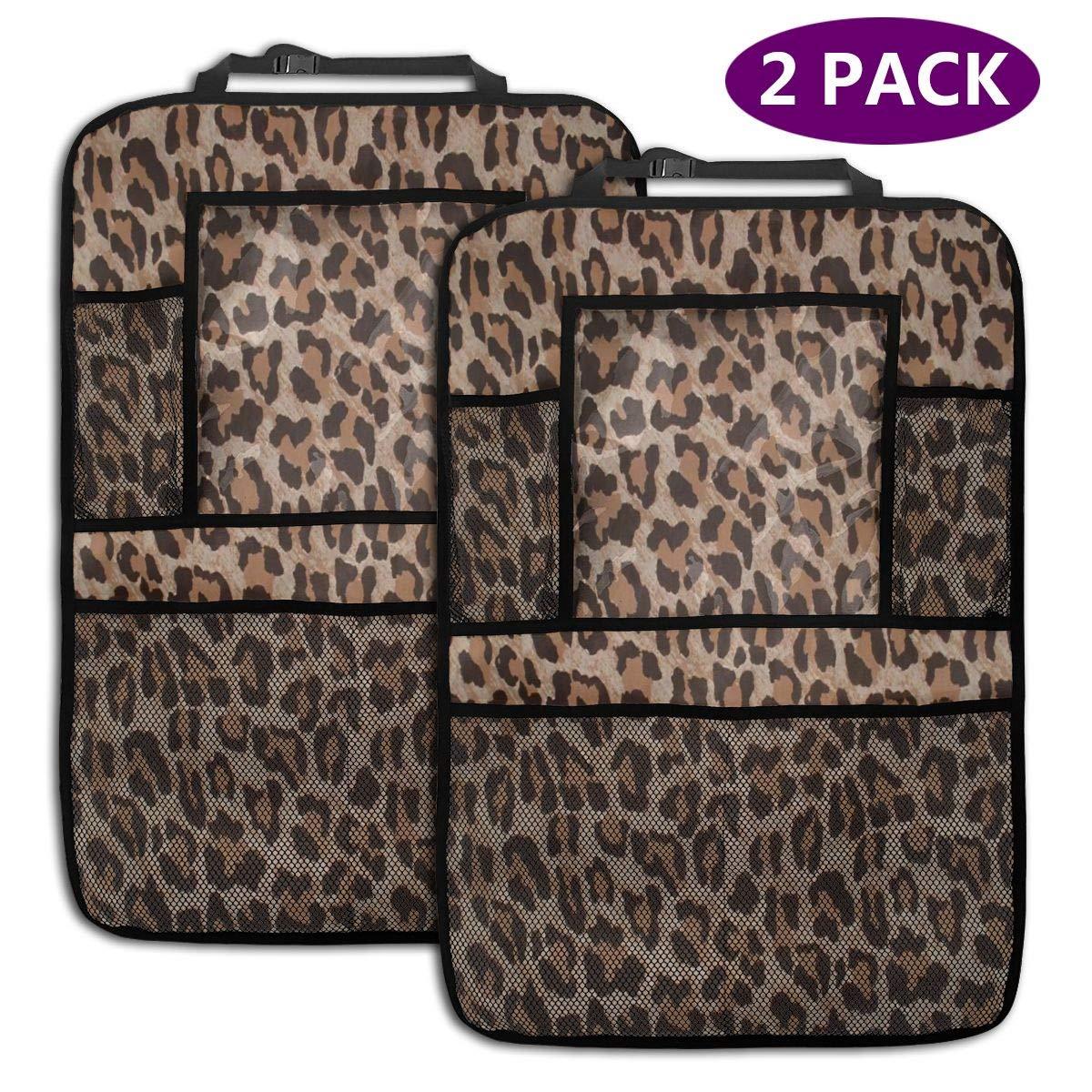 Organizador Fathyu Organizador de Asiento de Coche con Estampado de Leopardo con Bolsa de Soporte para Mantener tu Coche Limpio Gran Capacidad 2 Paquetes extra/íble Funda para Asiento de Coche
