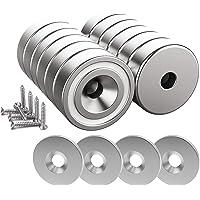 Magnetpro 12 imanes 10 kg fuerza 20 x 7 mm con orificio y cápsula, imán en recipiente avellanado de neodimio con…