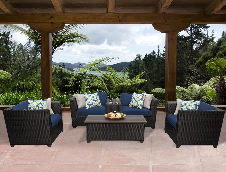 TK Classics BARBADOS-06d-NAVY Barbados 6 Piece Outdoor Wicker Patio Furniture Set, Navy