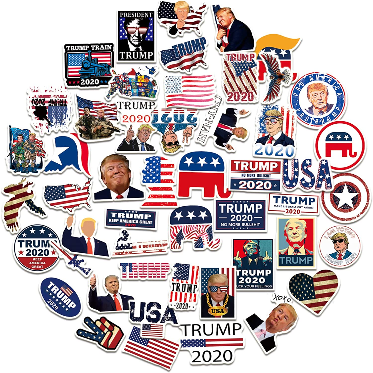 50Pcs Trump Stickers and Decals 2020, American Election Trump Stickers Waterproof Vinyl Stickers Decals for Laptop Water Bottle Bumper Luggage Computer Skateboard Snowboard
