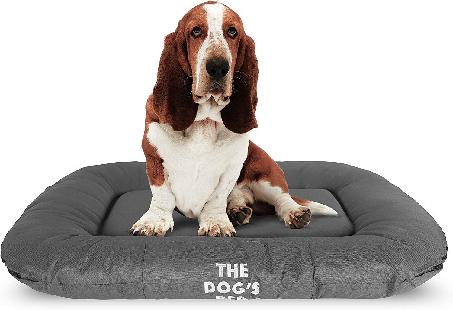 The Dog's Bed, Premium Waterproof Dog Bed, M to XXL Durable Quality Grey Oxford Fabric, YKK Zippers, Washable Reversible Cover, Dog Beds for Home Car Crate & Outside, Puppy & All Pet Comfort