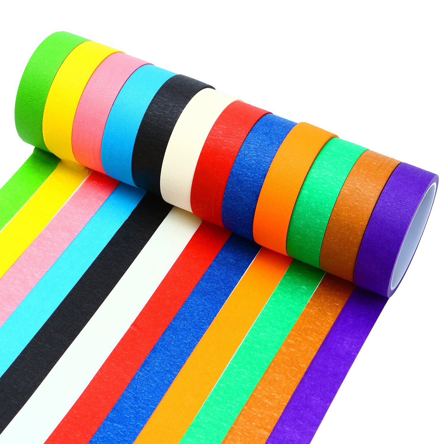 Resinta 12 Pieces Colored Masking Tape Rainbow Masking Tape Labelling Tape Graphic Art Tape Roll for Fun DIY Arts Supplies Kit, 12 Colors.