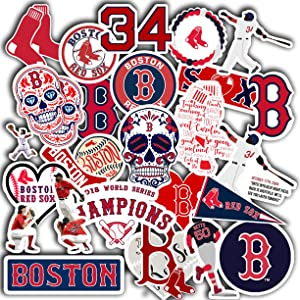 "Stickers Pack Boston Aesthetic Red Vinyl Sox Stickers Set of 30 Decal 2"" Colorful Waterproof for Laptop Sticker"
