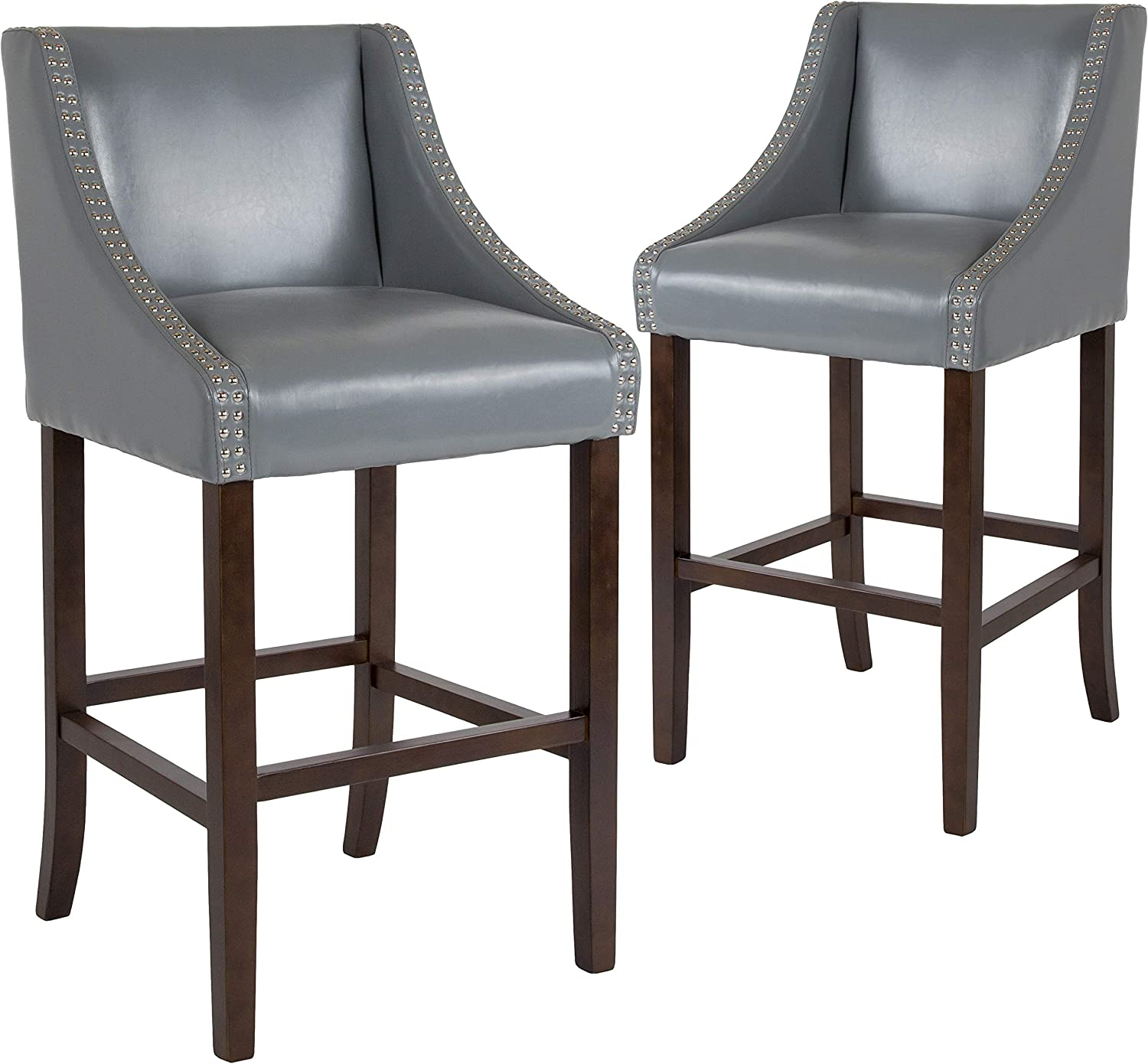 "Flash Furniture 2 Pk. Carmel Series 30"" High Transitional Walnut Barstool with Accent Nail Trim in Light Gray LeatherSoft"