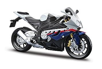 Maisto Bmw S1000 Rr Originalgetreues Motorradmodell 1 12 Mit Beweglichem Stander Federung Und Frei Rollenden Radern 17 Cm Weiss Blau 531191