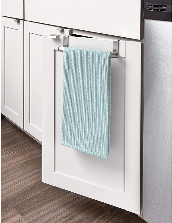InterDesign Axis Toallero curvado para paños de cocina, pequeño perchero para puerta en acero inoxidable, toallero sin taladro, plateado: Amazon.es: Hogar