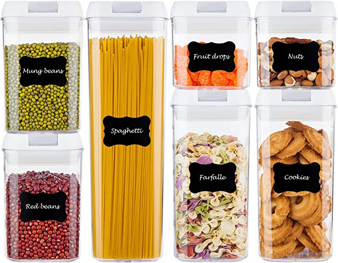 Amazon.com: Airtight Food Storage Containers, Vtopmart 7 Pieces BPA Free Plastic Cereal Containers with Easy Lock Lids, for Kitchen Pantry Organization and Storage, Include 24 Free Chalkboard Labels and 1 Marker: Kitchen & Dining