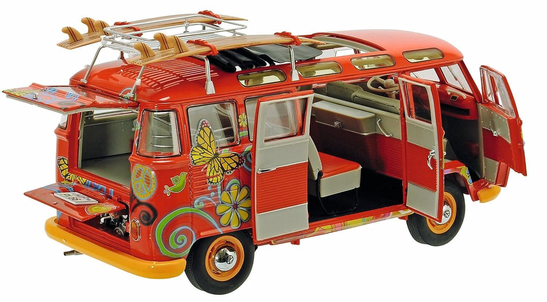 Schuco 450028300 VW T1 Samba Hippie - Escala 1:18 para Furgoneta con Pistas de Techo y Tablas de Surf: Schuco: Amazon.es: Juguetes y juegos