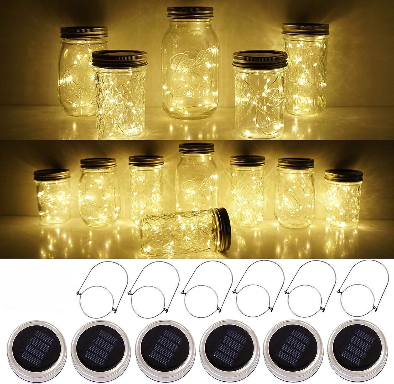 SmilingTown Mason Jar Lid Solar String Lights, Warm White 6 Pack 20 LED Waterproof Hanging Fairy Starry Lighting for Regular Mouth Jars Patio Wedding Lantern Table Decor (Warm White)