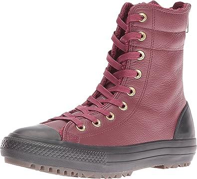 Converse Women's Chuck Taylor All Star Leather + Fur Hi-Rise Boot XHi Deep  Bordeaux