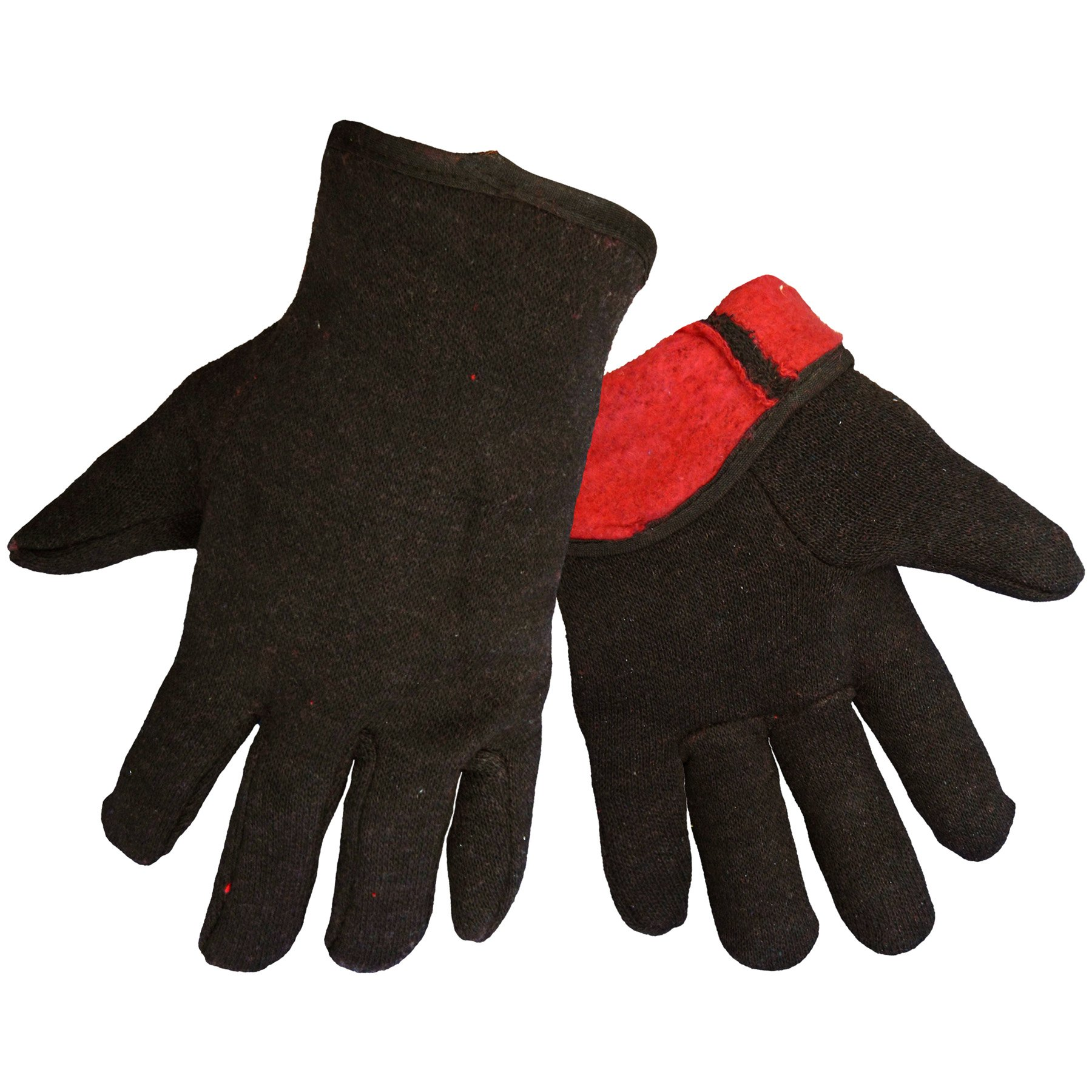 Global Glove C10BJR Cotton Jersey Glove, Work, Red Lined Brown (Case of 144)
