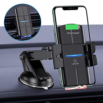 Wireless Car Charger Mount,USAMS 10W Qi Fast Charging Auto-Clamping Mount, Windshield Dash Air Vent Phone Holder for iPhone 11/11 Pro/Pro Max/XS Max/XS/XR/8,Samsung Note 10/S10/S9/S8/,Pixel/LG (Black) [5Bkhe1509034]