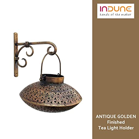 Indune Lifestyle Iron Wall Bracket With Perforated Degchi Tea Light Holder - Antique Golden Tealight Candle Holders at amazon