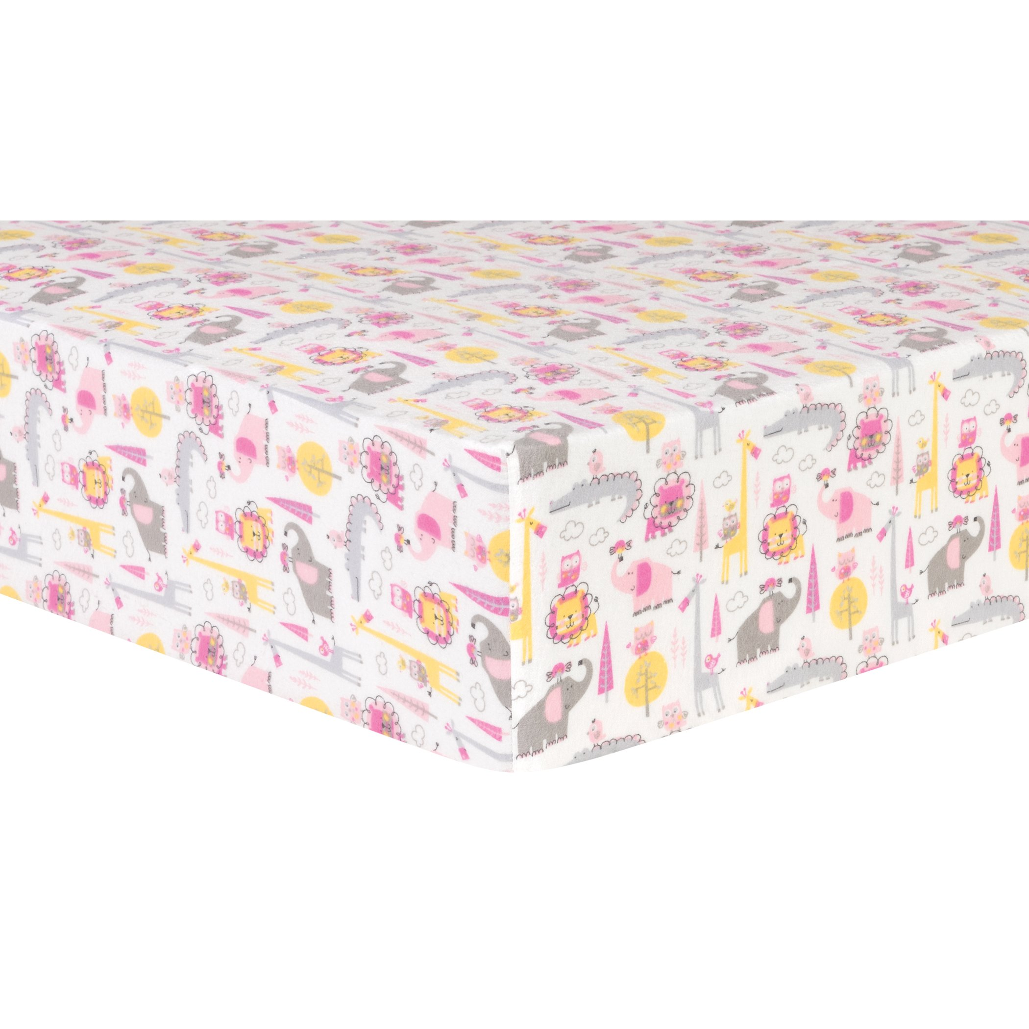Trend Lab Pink Animal Safari Deluxe Flannel Fitted Crib Sheet