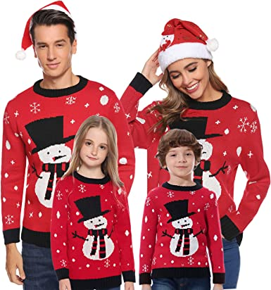 Xmas Matching Pullover Sweater Long Sleeve Reindeer Snowflake Knitted Top for Men Women Kids Aibrou Christmas Family Jumpers