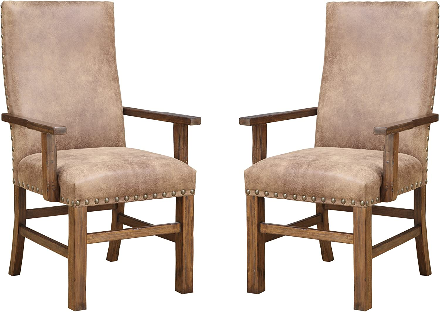 Emerald Home Chambers Creek Brown Upholstered Dining Chair with Arms And Nailhead Trim, Set of Two