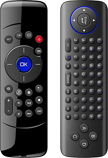 lynec C2 2.4 G 6 Axis Mini Wireless Keyboard Ratón mando a distancia con infrarrojos remoto aprendizaje Air Control para PC HTPC IPTV Smart TV, Android TV Box Media Player (Versión Actualizada):