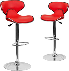 Flash Furniture 2 Pack Contemporary Cozy Mid-Back Red Vinyl Adjustable Height Barstool with Chrome Base