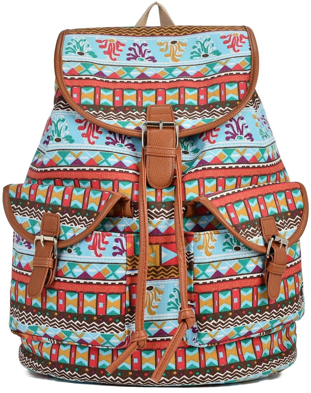 Major-Q Women's Cotton Canvas Travel Backpack for Girls/Teens Shoelaces, Hprd, M M US