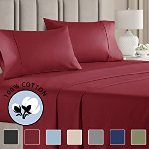 100% Cotton Cal King Sheets Burgundy (4pc) Silky Smooth, Cooling 400 Thread Count Long Staple Combed Cotton Cal King Sheet Set – 400TC High Thread Count Cal King Sheets - Cal King Bed Sheets