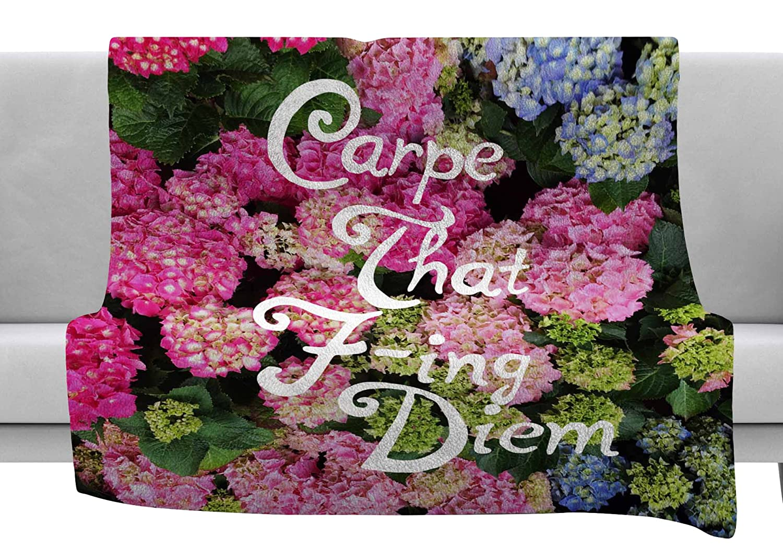 60 x 40 Fleece Blankets Kess InHouse Chelsea Victoria Carpe That F-Ing Diem Nature Pink Throw