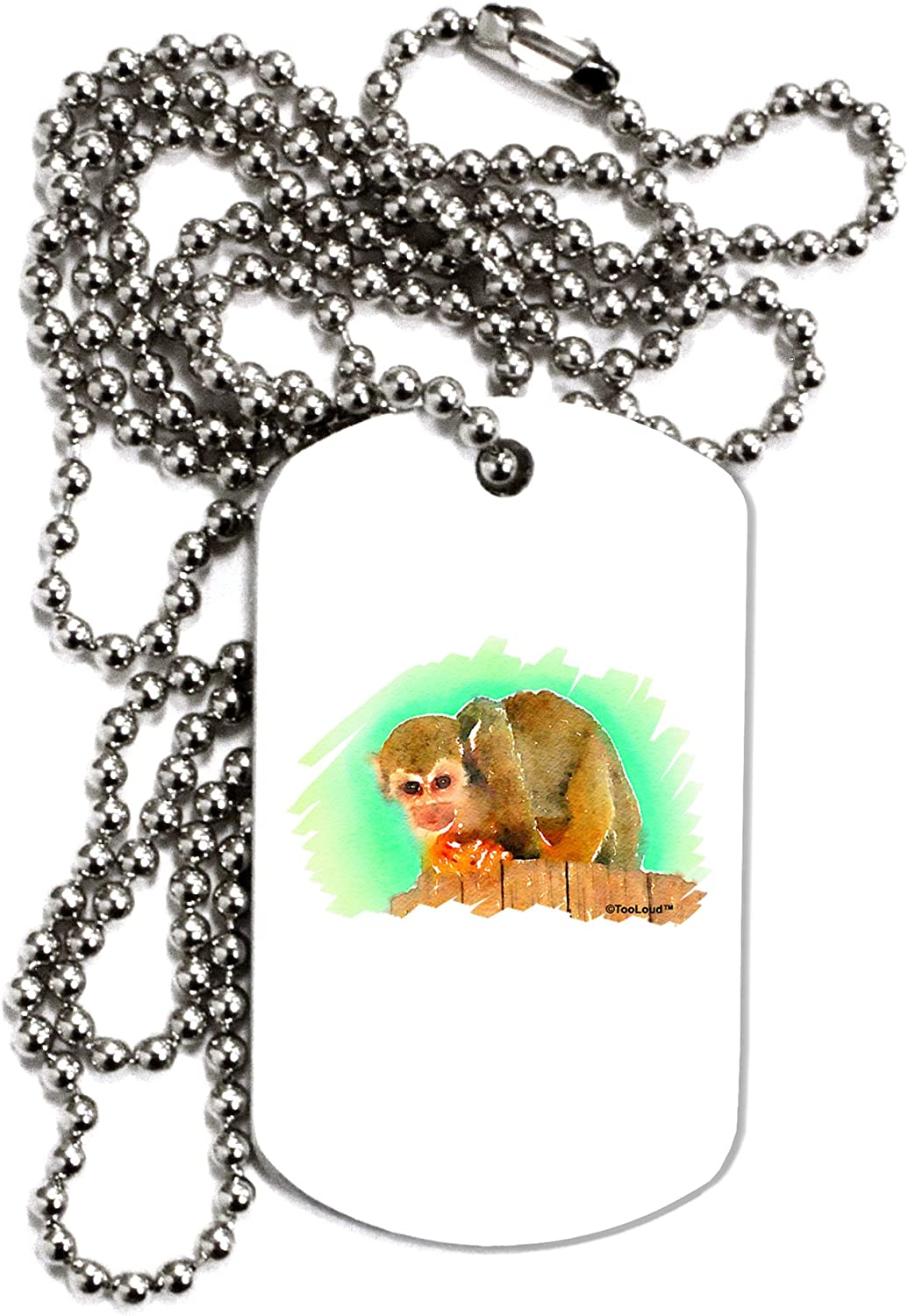 TOOLOUD Squirrel Monkey Watercolor Adult Dog Tag Chain Necklace