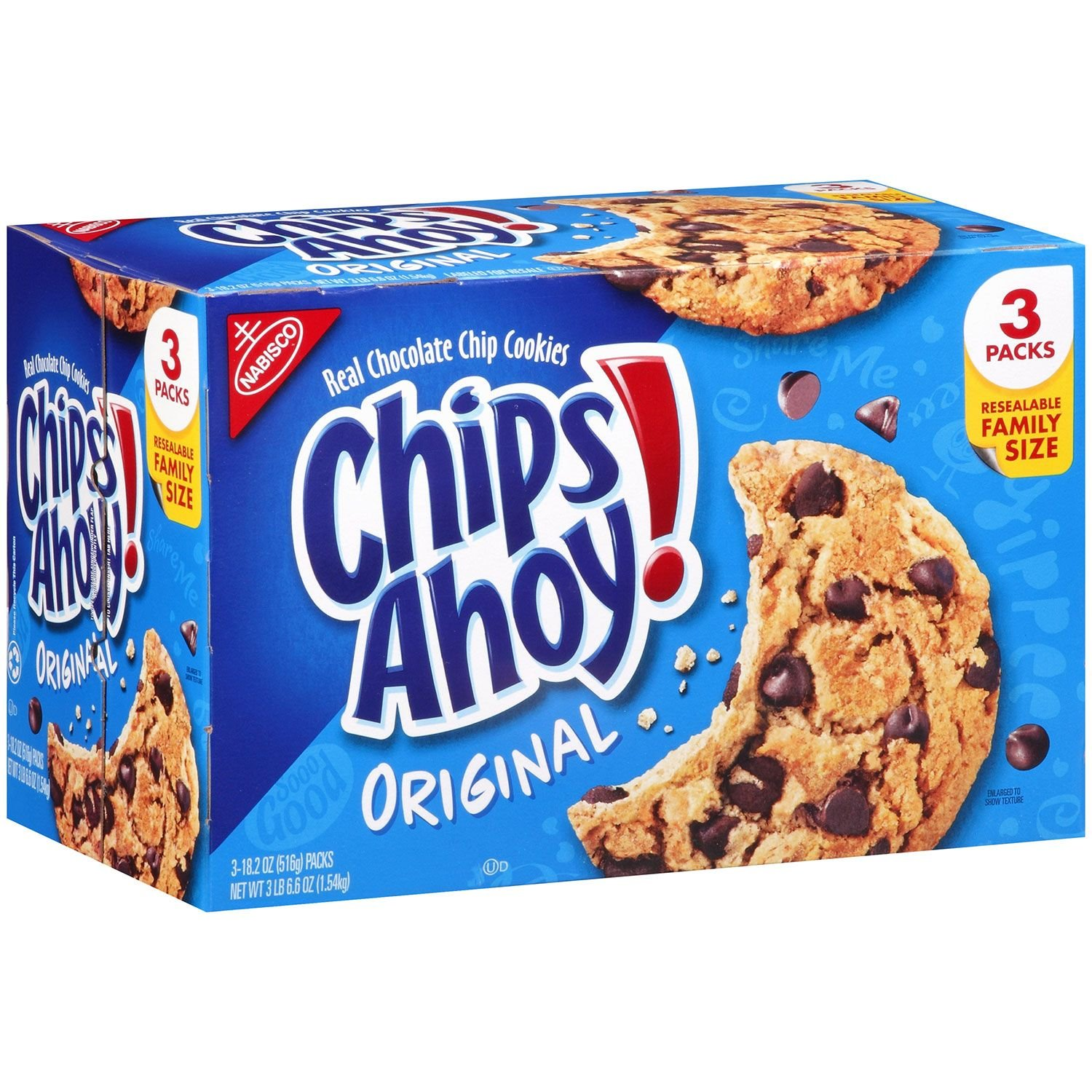 Chips Ahoy! Original Chocolate Chip Cookies - Family Size Bulk Pack with 3 Resealable Packages, 54.6 Ounce by Chips Ahoy!
