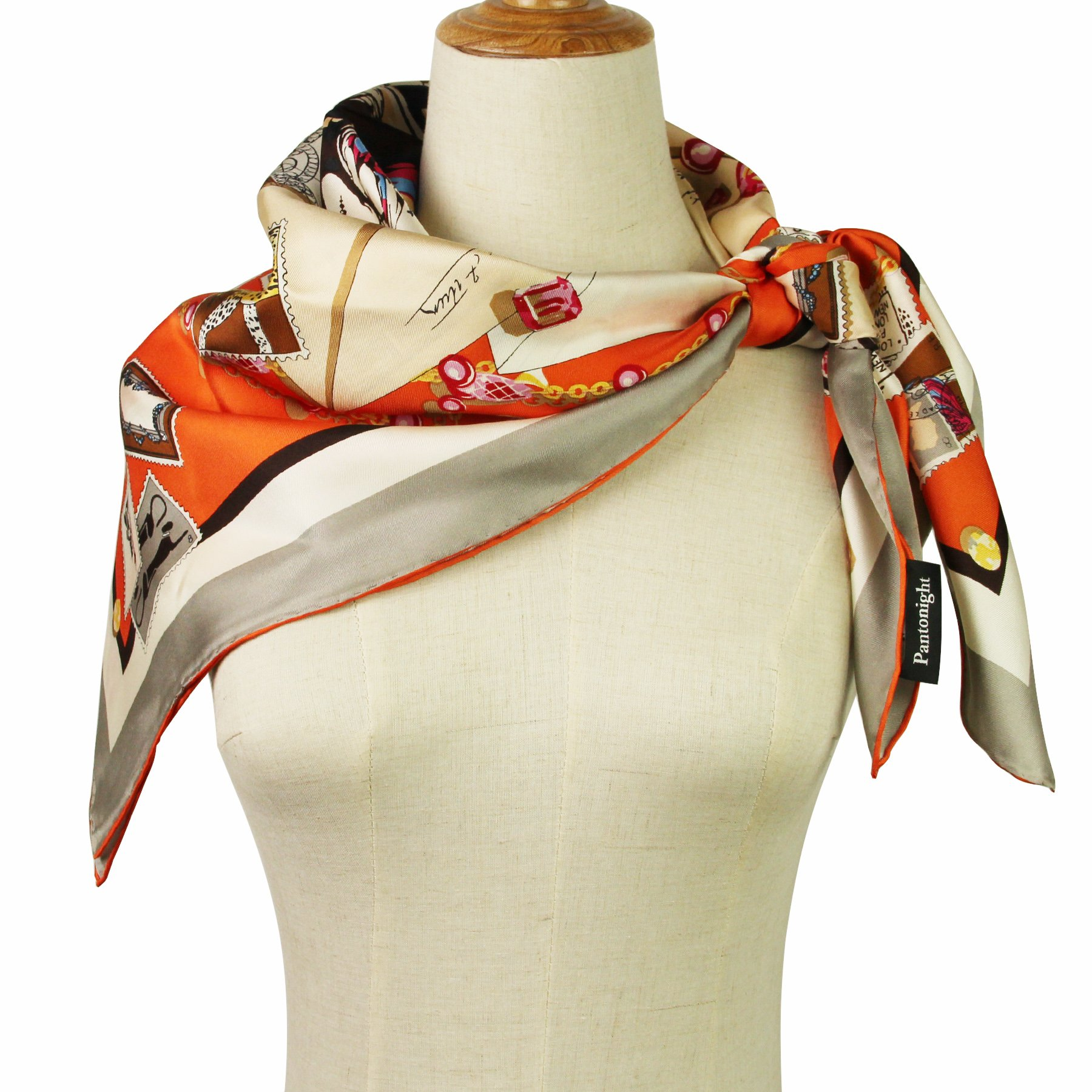 Silk Scarf Luxurious Square Scarf-Pantonight 100% Pure Silk 14MM Hand Rolling Edge Silk Twill Scarf for Women (silk square scarf 9)