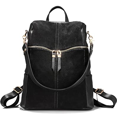 2bfc33b8eb4 Backpack Shoulder Bag Purse Girls School Bag Casual Nubuck +Synthetic  Leather Collage Style Black