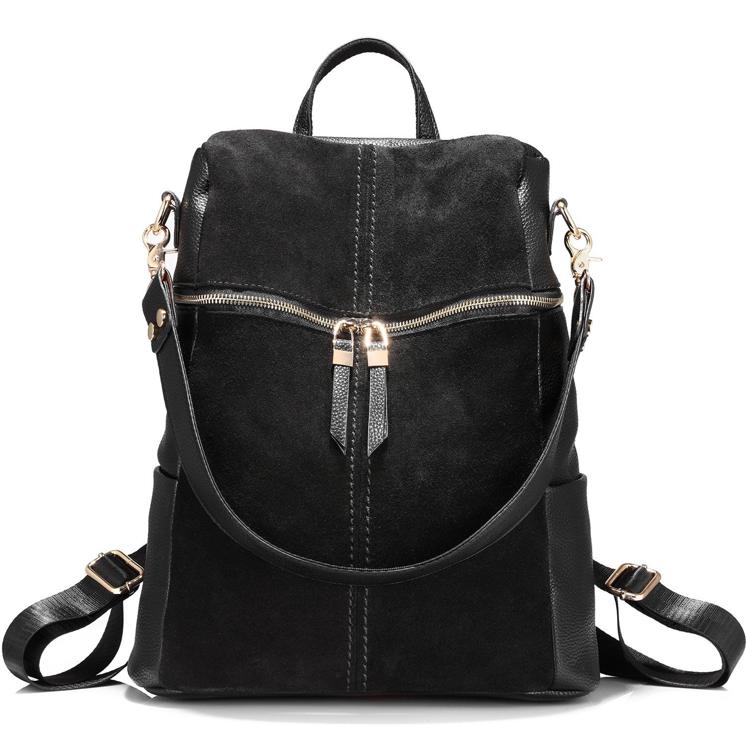 Backpack Shoulder Bag Purse Girls School Bag Casual Nubuck +Synthetic Leather Collage Style Black