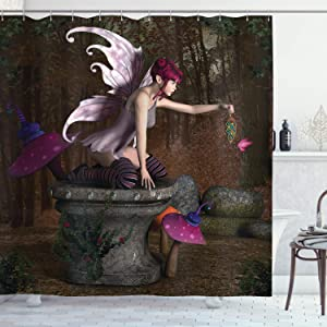 """Ambesonne Fairy Shower Curtain, 3 Dimensional Mythical Creature Design with Artifact on Pedestal Forest, Cloth Fabric Bathroom Decor Set with Hooks, 70"""" Long, Brown Pink"""