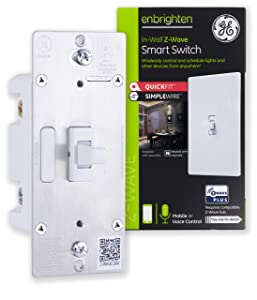 GE Enbrighten Z-Wave Plus Smart Light Switch with QuickFit and SimpleWire, Works with Alexa, Google Assistant, SmartThings, Wink, Zwave Hub Required, Repeater/Range Extender, 3-Way Ready Toggle, 46202