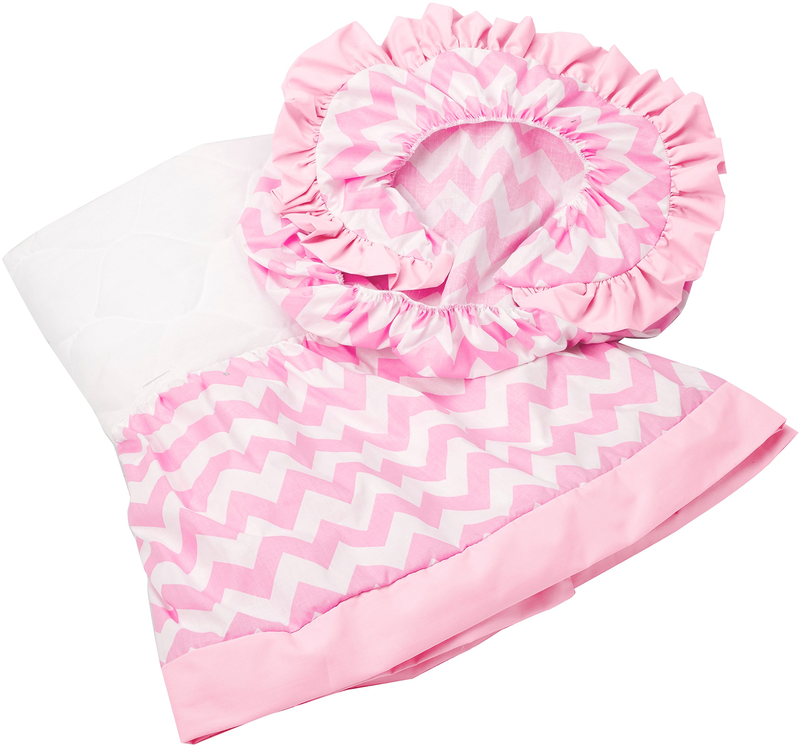 aBaby Chevron Short Bassinet Skirt, Pink, Small