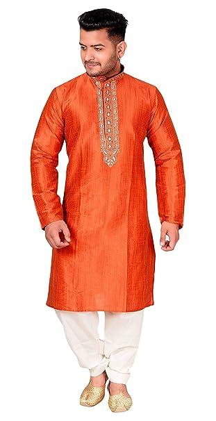 Amazon.com: Disfraz de indio sherwani arte seda Kurta crema ...