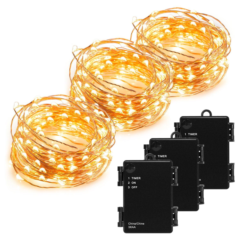 Kohree Kupferdraht Lichterkette 3 Stück (10m)100 LED Schnur-Licht ...