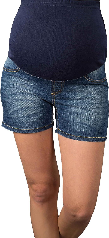 Mija - Cortos Vaqueros Umstandsshorts/Pantalones de Maternidad con Venda para el Vientre para Verano 9037