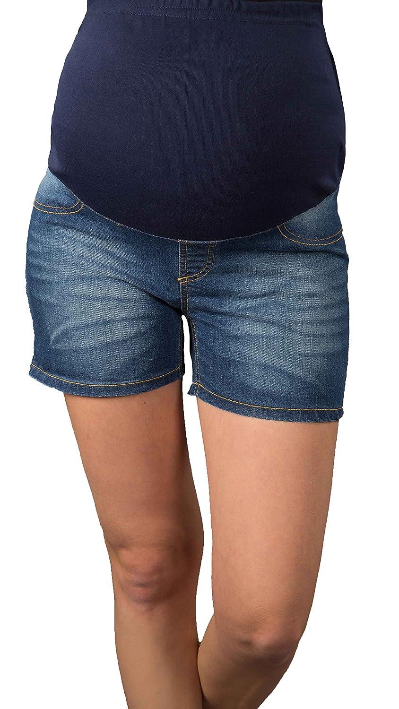Kurze Jeans Umstandsshorts / Umstandshose mit Bauchband für Sommer 9037