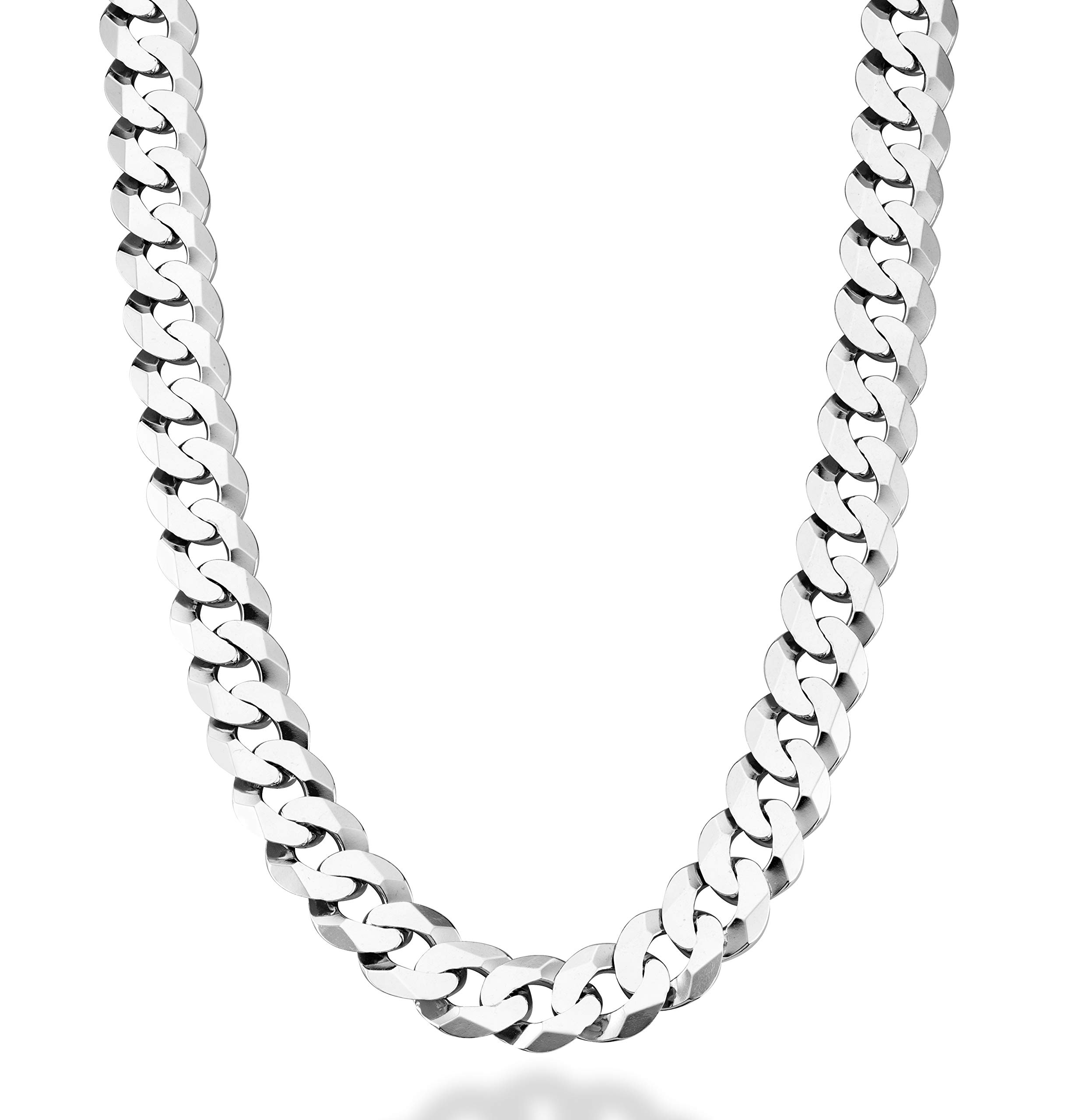 MiaBella Solid 925 Sterling Silver Italian 12mm Solid Diamond-Cut Cuban Link Curb Chain Necklace for Men, 18''-20''-22''-24''-26''-28'' (24, Sterling-Silver)