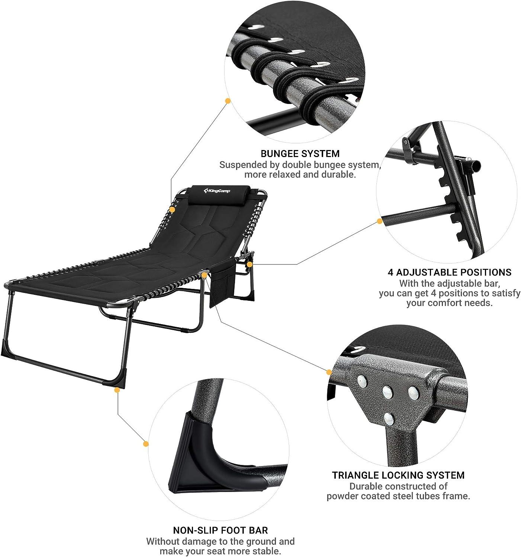 Soporte de hasta 150 kg Acolchada para una Gran Comodidad KingCamp XL Respaldo Ajustable en 4 Posiciones Tumbona Plegable reclinable Tumbona de Camping con Almohada